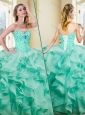 2016 Clearance Ball Gown Appliques and Ruffles Turquoise Sweet 16  Quinceanera Dresses
