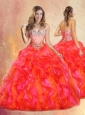 2016 Cute Ball Gown Multi Color Sweet 16 Quinceanera Dresses with Beading and Ruffles