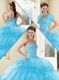Clearance Ball Gown Sweet 16 Quinceanera Dresses with Beading and Ruffled Layers in Aqua Blue