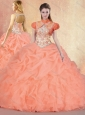 Cute Brush Train Sweet 16 Quinceanera Dresses with Ruffles and Pick Ups