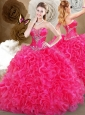Cute Hot Pink Sweetheart Quinceanera Dresses with Ruffles