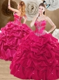 Clearance Brush Train Hot Pink Sweet 16 Quinceanera Dresses with Pick Ups