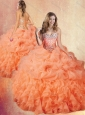 Clearance Brush Train Sweet 16 Quinceanera Dresses with Ruffles and Pick Ups