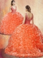 Clearance  V Neck Brush Train Quinceanera Dresses with Appliques