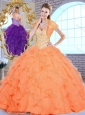 2016 Discount  Sweetheart Beading and Ruffles Sweet 16 Quinceanera Dresses in Orange