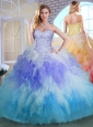 Discount Sweetheart Multi Color Quinceanera Dresses with Beading and Ruffles