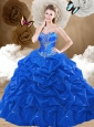 Discount Brush Train Sweetheart Quinceanera Dresses with Pick Ups