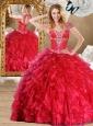 Discount Red Quinceanera Dresses with Beading and Ruffles 2016