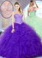 2016 Unique New Style Ball Gown Sweet 16 Quinceanera Gowns with Beading and Ruffles