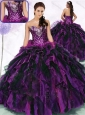 2016 Unique Sweetheart Multi Color Quinceanera Dresses with Ruffles and Sequins