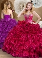 Discount Ball Gown Sweet 16 Quinceanera Dresses with Beading and Ruffles 2016