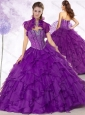 Latest Ball Gown Purple Quinceanera Gowns with Beading and Ruffles