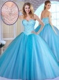 Unique  Ball Gown Baby Blue Quinceanera Dresses with Beading