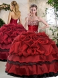 Unique Ball Gown Beading and Pick Ups Sweet 16 Quinceanera Gowns in Wine Red