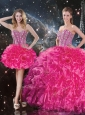 Fashionable Sweetheart Hot Pink Detachable Quinceanera Dresses with Beading