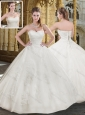 2016 Beautiful Sweetheart Long White Wedding Dress with Appliques