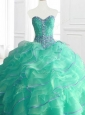 Gorgeous Sweetheart Beading and Ruffles Quinceanera Gowns in Turquois