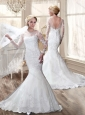 Luxurious Brush Train Mermaid Wedding Dresses with Long Sleeves 2016