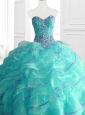 Modern Aqua Blue Sweet 16 Dresses with Beading and Ruffles