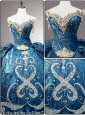 New Style Sweetheart Beading Teal Quinceanera Dresses for 2016