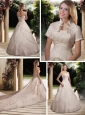 Cheap A Line Strapless Chapel Train Wedding Dress with Beading and Ruffles