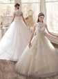 Cheap High Neck Wedding Dresses with Appliques and Ruching