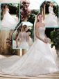 Classical A Line Sweetheart Lace Wedding Dresses with Court Train