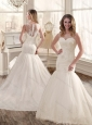 Gorgeous Mermaid Scoop Wedding Dresses with Appliques and Lace