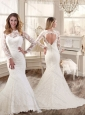 Hot Sale Bateau Open Back Wedding Dresses with Brush Train