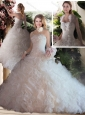 Lovely Ball Gown Strapless Beading and Ruffles Wedding Dresses for Church