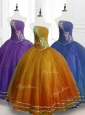 Lovely Ball Gown Strapless Organza Quinceanera Dresses with Beading