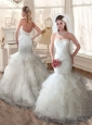 Lovely Mermaid Strapless Wedding Dresses with Ruffles and Lace