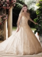 Perfect Ball Gown Beading and Lace Wedding Dresses with Brush Train
