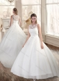 Perfect Bateau Appliques Wedding Dresses with Court Train