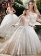 Popular Appliques and Beading Wedding Dresses with Brush Train