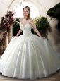 2016 New Style Scoop Beading Wedding Dresses with Brush Train