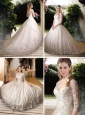New Style V Neck Half Sleeves Lace Wedding Dresses with Brush Train
