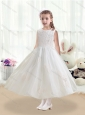 Cheap Scoop Tea Length White Flower Girl Dresses with Appliques