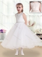 Fashionable Scoop Tea Length Flower Girl Dresses with Lace