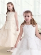 Hot Sale Bateau Flower Girl Dresses with Beading and Appliques