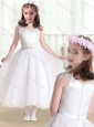 Latest Cap Sleeves Flower Girl Dresses with Beading and Appliques