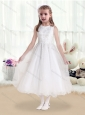 Latest Scoop White Flower Girl Dresses with Beading and Appliques