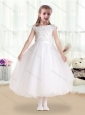 Sweet Bateau Cap Sleeves Flower Girl Dresses with Appliques