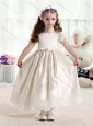 2016 Customized Empire Short Sleeves Flower Girl Dresses with Lace