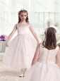 2016 Pretty Scoop Princess Flower Girl Dresses with Appliques
