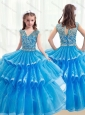 2016 Pretty V Neck Baby Blue Mini Quinceanera Dresses with Ruffled Layers