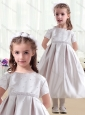 Beautiful Short Sleeves Satin Flower Girl Dresses with Beading