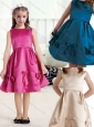 Elegant Bateau Knee Length Satin Flower Girl Dresses with Bowknot