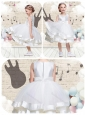 Lovely Scoop Knee Length Flower Girl Dresses with Beading