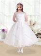New Style Scoop Appliques White Flower Girl Dresses